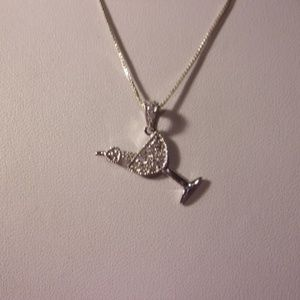 """Sterling Silver Cocktail Pendant Necklace 18"""" L"""